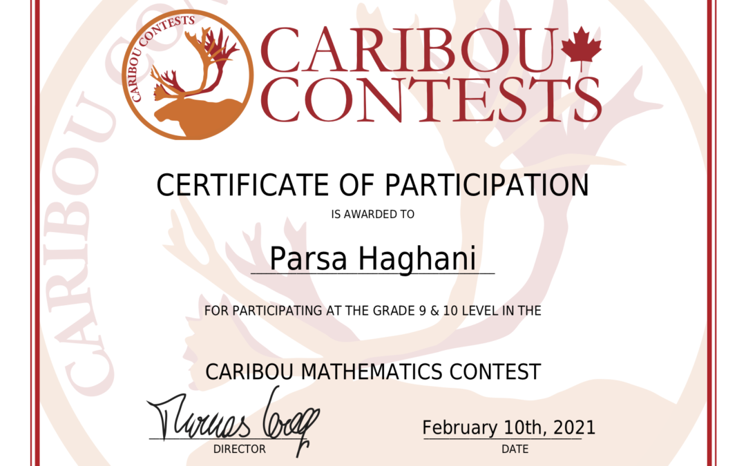 What Does the Caribou Cup Participation Certificate Look Like?